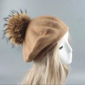 Autumn/Spring Tan Wool Beret w/ Fur Pompom